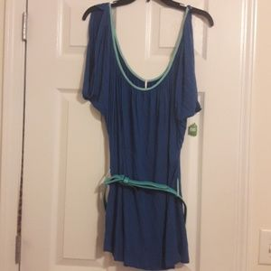 Honey Punch Open Sleeve Tunic Small Royal Blue